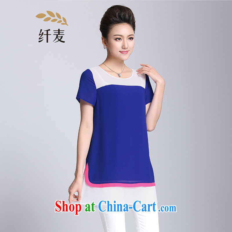 Former Yugoslavia, Mr Big, female 2015 summer new thick mm video thin knocked color short-sleeved snow woven shirts T shirt 952153915 blue 5 XL