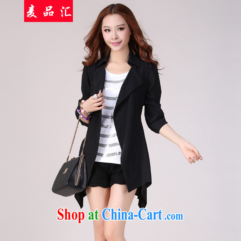 Mr MAK, Exchange 2015 new Korea and indeed increase, female spring and summer jacket thick mm loose video thin, long, leisure, Windbreaker black 4XL recommendations 165 - 185 jack