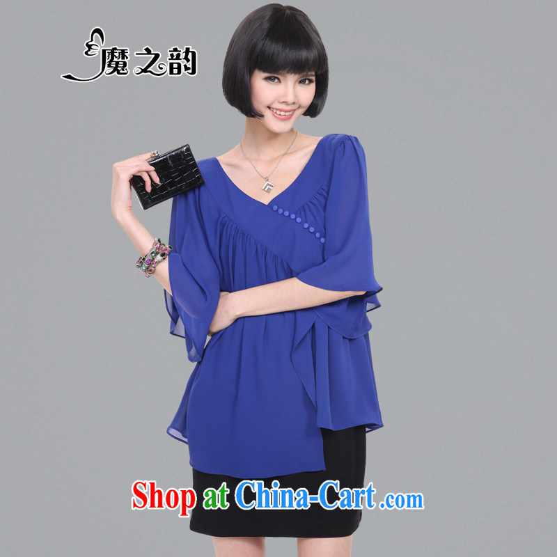 Magic of the obese people's congress, women 2015 Korean V collar flouncing cuff loose leave two snow woven new dresses summer 82,831 blue XL