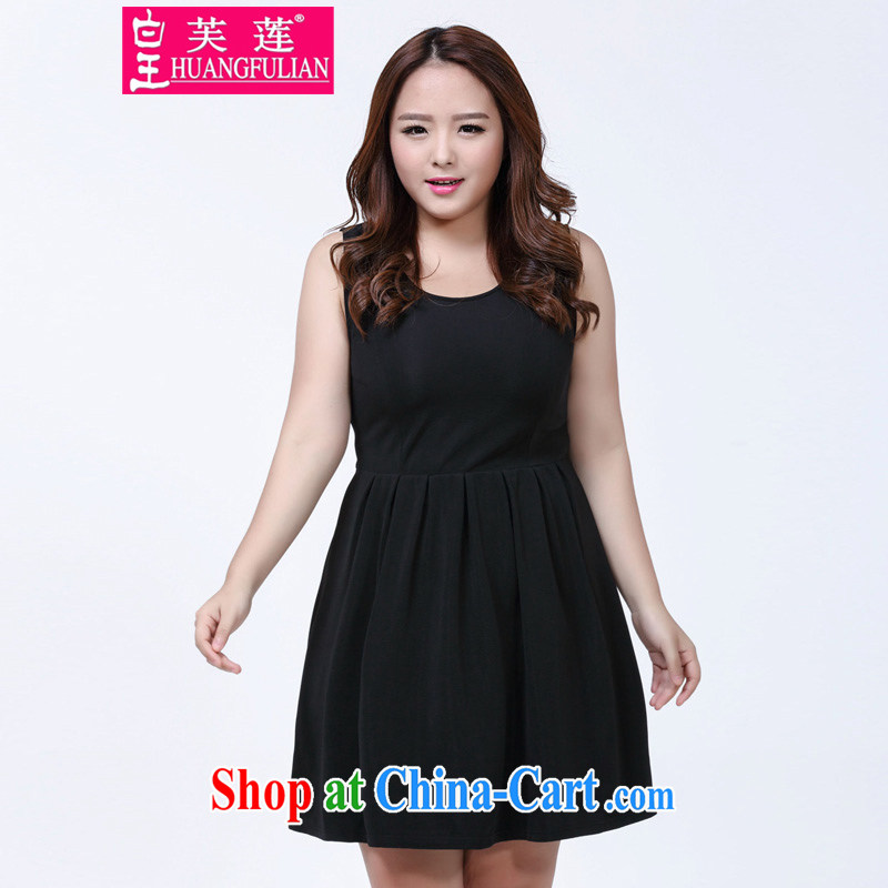 Not be Lin 2015 summer new Korean temperament and indeed XL dresses video thin-waist solid color thick mm sleeveless vest dress 1005 black XXXXL