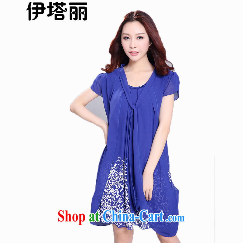 Land is the Yi 2015 summer the Code women new and indeed intensify thick MM high-end aura leave of two short-sleeved snow woven dresses 2035 blue 5 XL