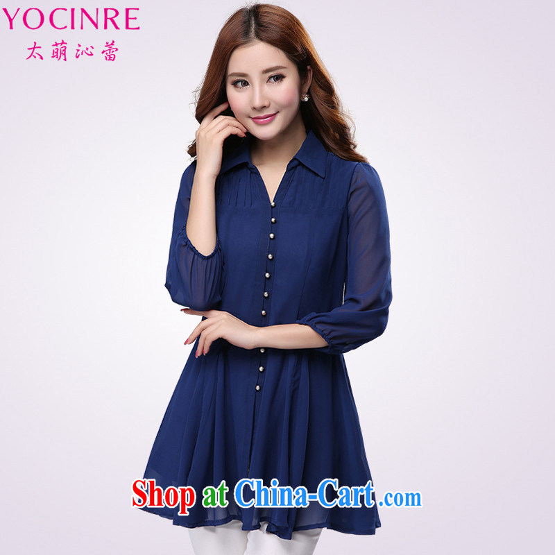 too wide endocrine disruptors ballet 2015 spring new Korean version XL female loose video thin 100 in Hem T-shirt lapel snow woven shirts YS 1191 royal blue 6 XL _200 - 230 _ jack