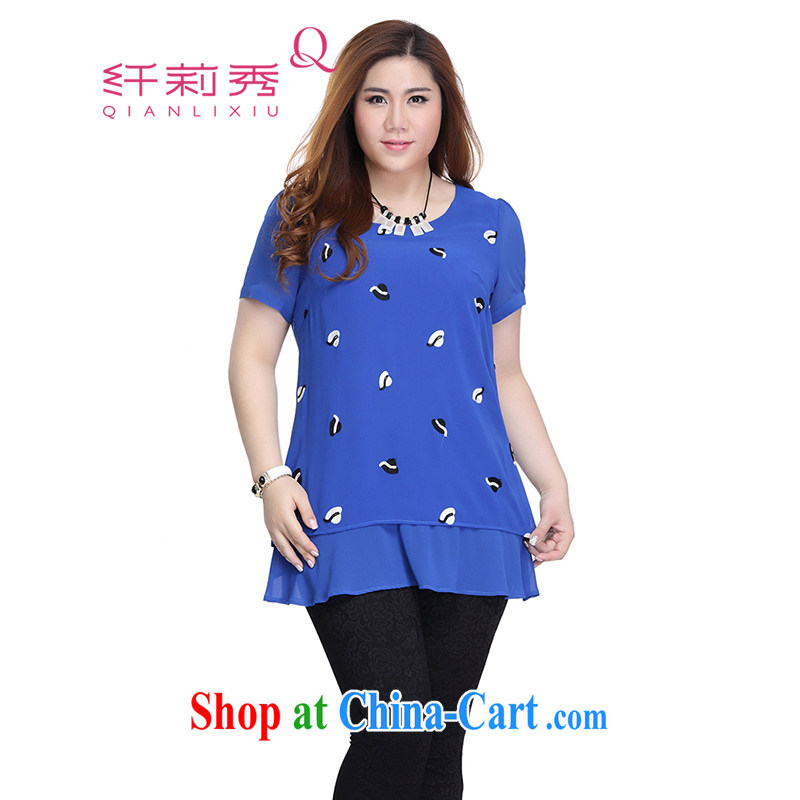 Slim LI Sau 2015 summer new larger snow woven shirts flouncing round-collar short-sleeve leave two snow woven shirts Q 7223 color blue 3 XL