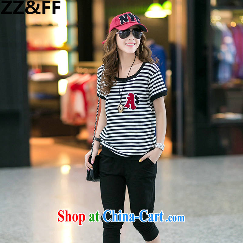 ZZ _FF mm thick summer new 2015 Kit female and indeed increase, female striped short-sleeved T shirts 7 pants sport and leisure package black XXXL