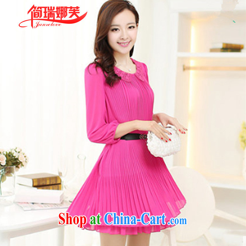 In short, the 2015 will be focused on the sister is indeed King, female Korean loose video thin 7 snow cuff woven 100, dresses female J of 701 red 5 XL