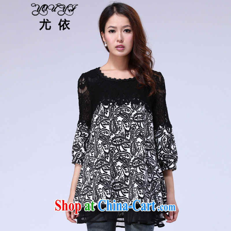 According to the 2015 spring lace snow woven shirts T-shirt loose the Code women mm thick solid long-sleeved T-shirt dresses YX 012 black XXXXXL