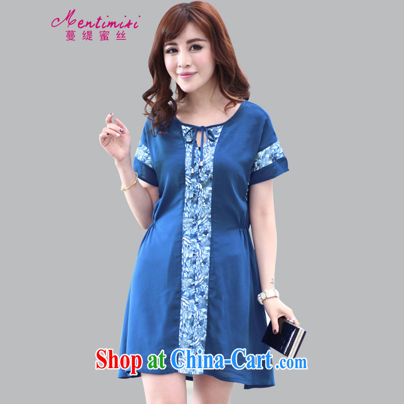 Mephidross economy honey, summer new 2015 Korean version stamp stitching short-sleeved cultivating snow woven large code dresses M 2809 blue 5 XL