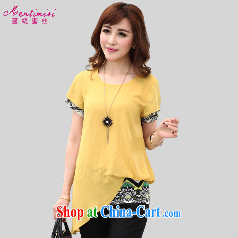 Mephidross economy honey, the Code women with thick MM summer 2015 new short-sleeved round-cultivating false Two snow T woven shirts M 1303 yellow 5 XL