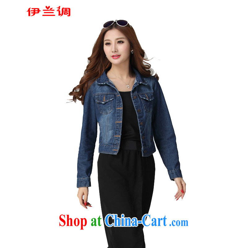 The blue-cultivating graphics thin short denim jacket 2015 spring new thick mm larger female and FAT and FAT sister 2058 dark blue XXXXL