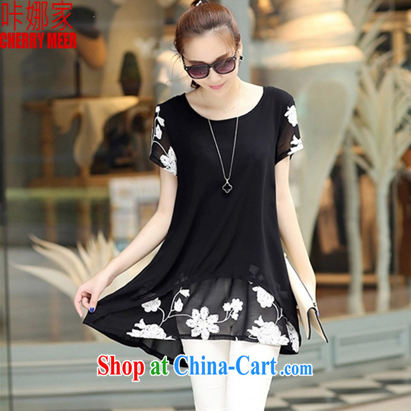Click national 2015 spring new Korean short-sleeved clothes snow woven shirts thick MM larger women 011 black XXXL