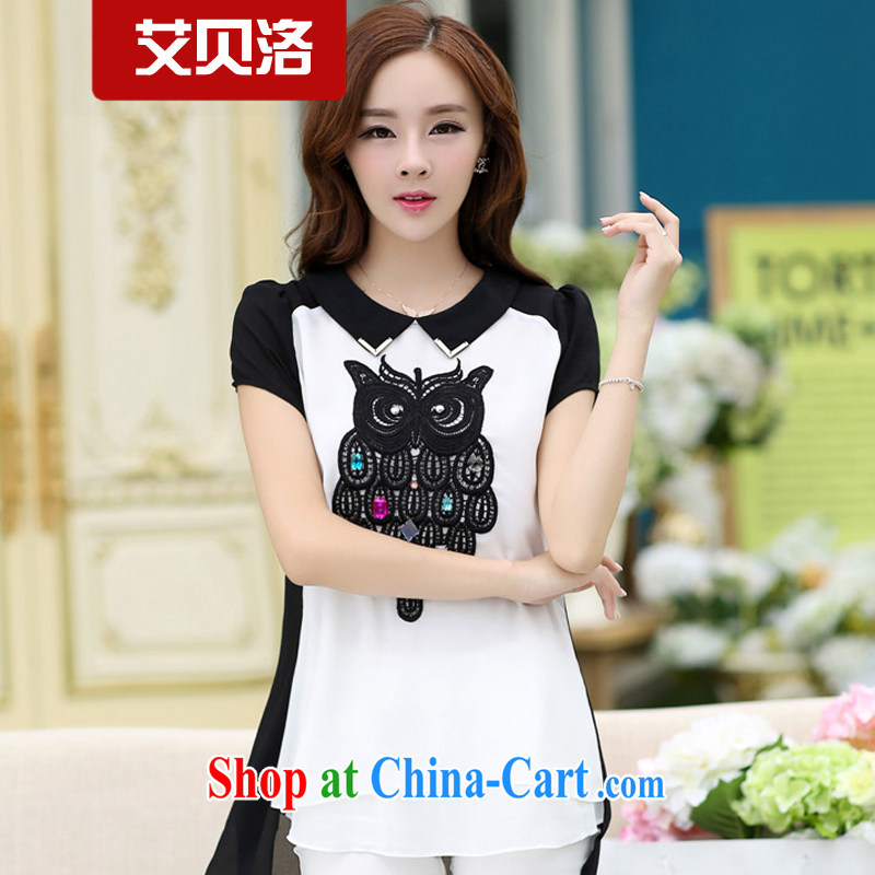 The Belo 2015 spring and summer new short-sleeved larger female snow woven shirts summer stitching, long owl mm thick T-shirt 6233 black XXXXL