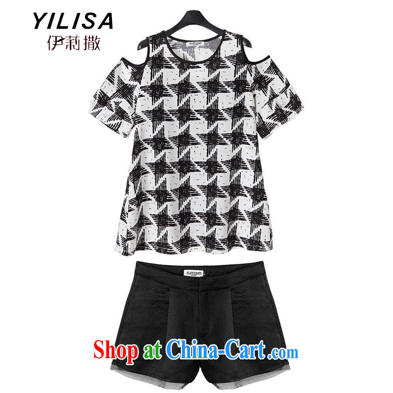 America and Europe YILISA larger female new summer mm thick short-sleeved bare shoulders Dolls with tartan T-shirt T-shirt + A Edition shorts package C 5833 package picture color XXXL