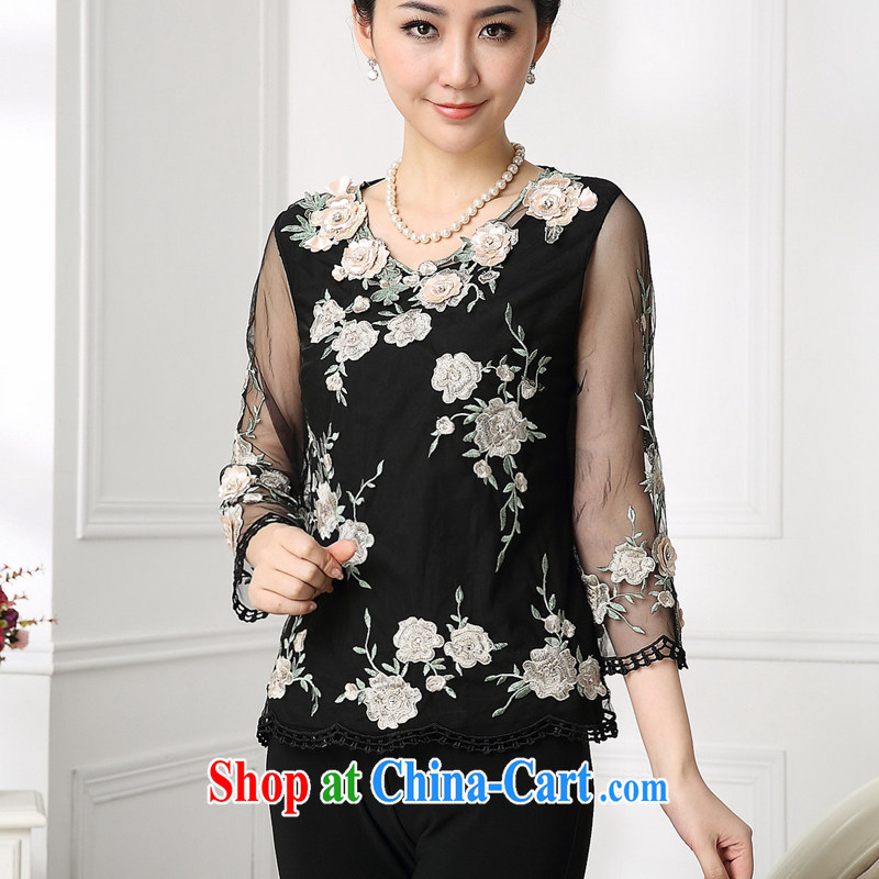 Coffee, summer 2015 new thick mm video thin lace women T shirts and indeed increase, middle-aged flower embroidery t-shirt black XXXXL