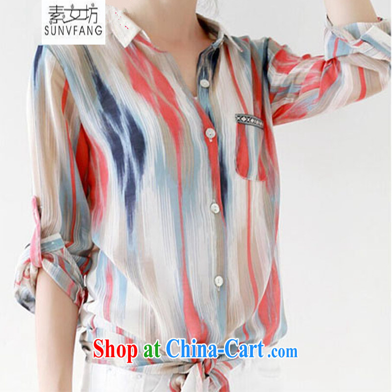 Women of 2015 workshop on new Korean version thick girls with graphics thin, summer summer the code thick MM snow stamp duty woven shirts large, sunscreen and clothing female picture color XXXL