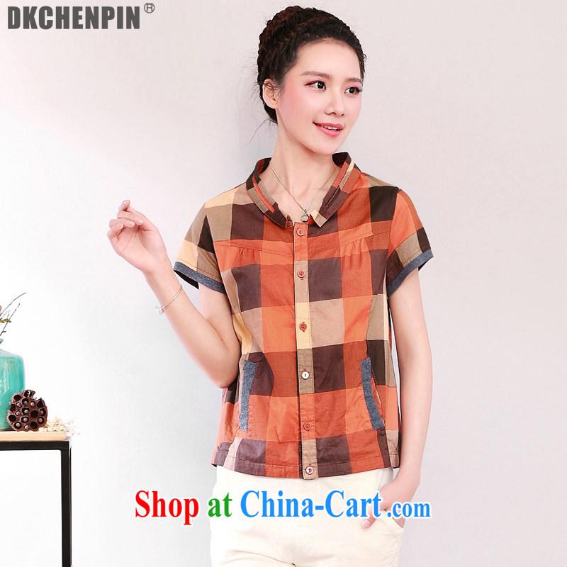 2015 DKchenpin larger female cotton Ma T-shirt short-sleeve summer shirt Ms. tartan shirt girls lax mom with orange 4 XL
