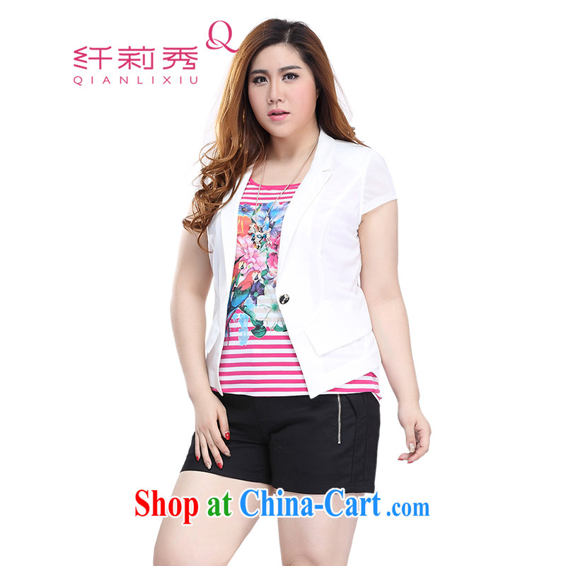 Slim LI Sau 2015 summer new, larger female presence with false trade descriptions for Mesh stitching package cuff short small jacket Q 7705 m White 5XL
