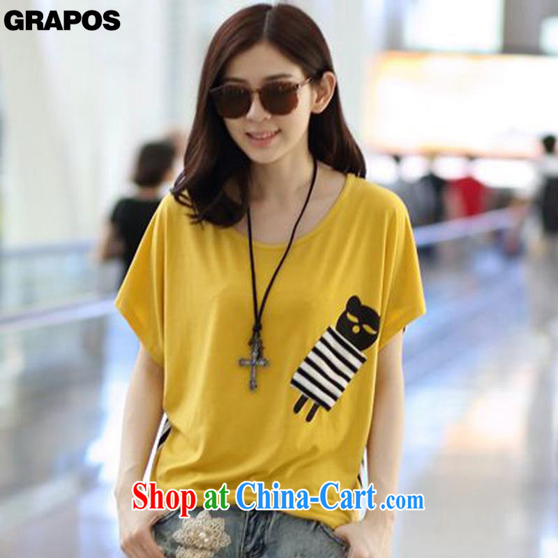 GRAPOS 2015 summer new stitching round-collar loose T pension maximum code short-sleeve shirt T DM 014 yellow XL