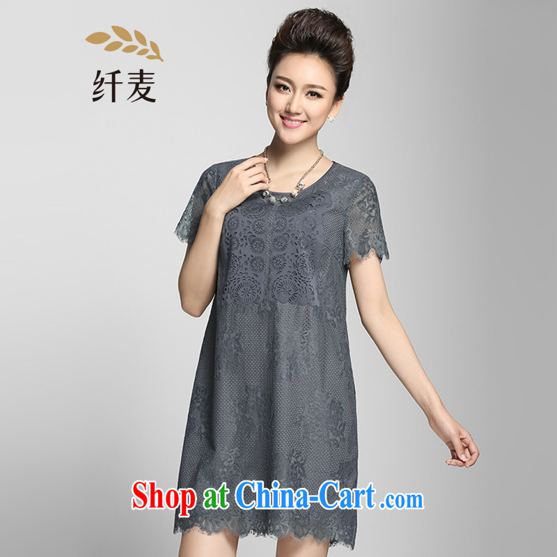 The Mak is the female 2015 summer new, mm thick Korean lace stitching graphics thin dress 952103046 gray 3 XL