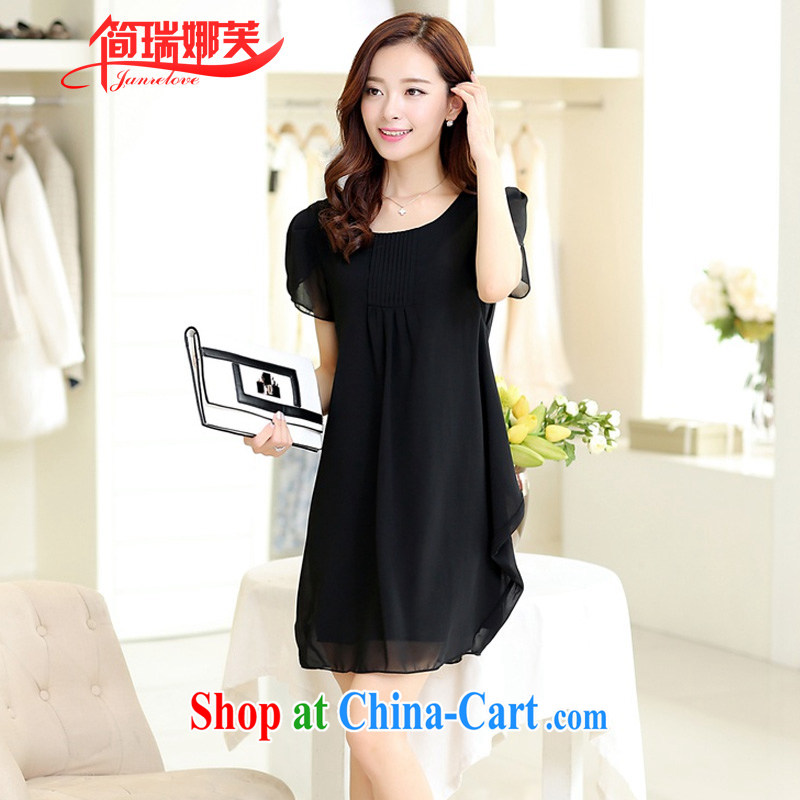 In short, would be the 2015 summer new FAT sister and indeed XL loose video thin short-sleeve snow woven dresses female J 703 black 4XL