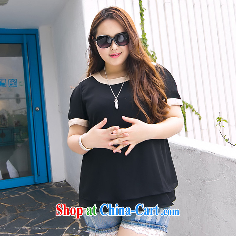 The Erez mark summer 2015 new, larger female snow woven shirts thick sister the fat and loose short sleeve shirt T 1012 3XL _chest of 118 cm_