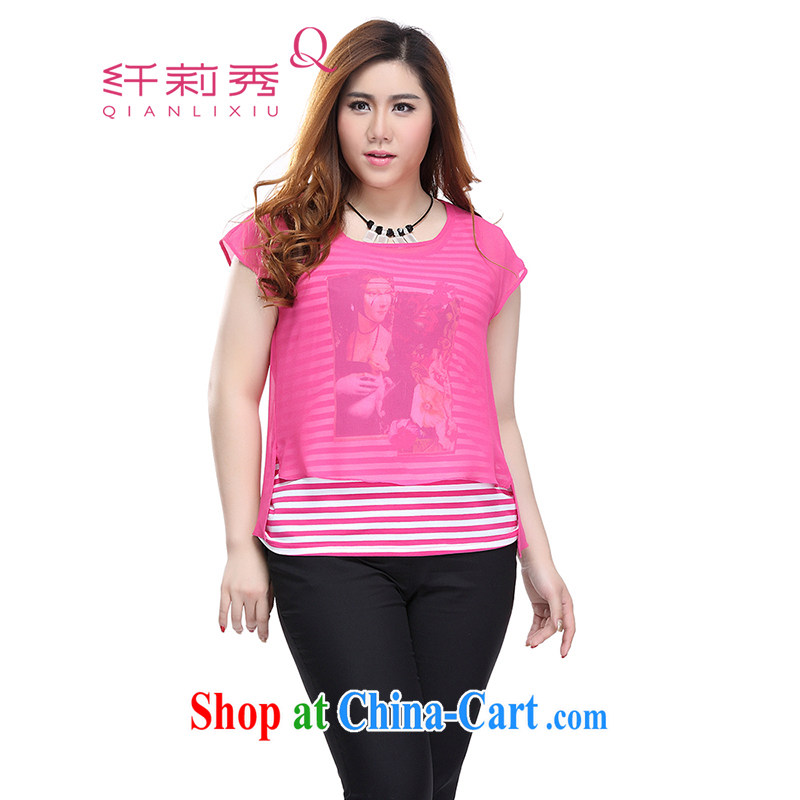 Slim LI Sau 2015 summer new, larger female, T-shirt striped 100 ground vest video thin really two-piece Q 7730 by red 2 XL