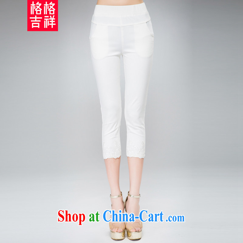 Huan Zhu Ge Ge Ge 2015 and indeed increase, female summer new high waist stretch 7 pants thick, thick mm video thin stylish lounge 100 solid ground pants 879 white 3XL