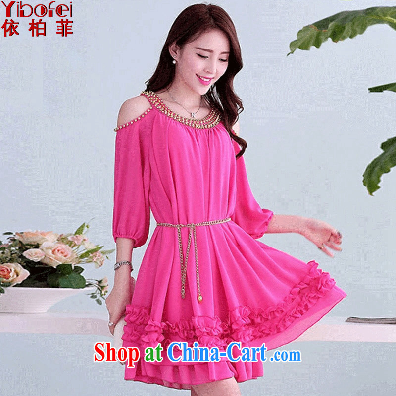 According to perfect 2015 new Korean version thick MM the ventricular hypertrophy, loose video thin bare shoulders short-sleeved snow woven lace rivet dresses Y 2100 by red 5 XL 230 - 260 jack