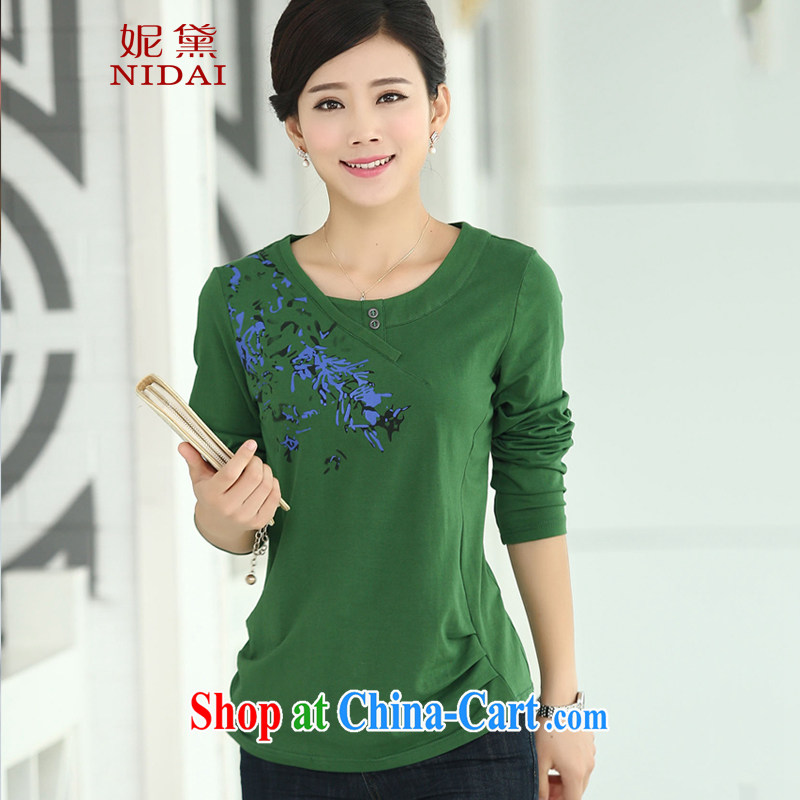 Connie Diane 2015 spring on the new larger female female T shirt XB 9161 dark green 2 XL