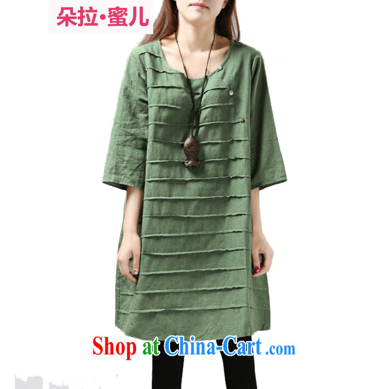 Dora, honey Child Care 2015 spring and summer with new literary and artistic National wind loose the code with 7 sub-sleeved dresses 163,522 green XXL