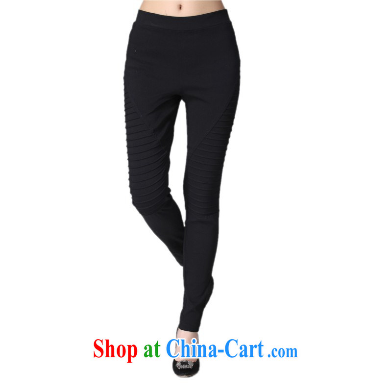 The delivery package as soon as possible e-mail is indeed the greater number code Yi pants 2015 new spring and summer wear solid black pants graphics thin OL over waist stretch pants black 4 XL approximately 170 - 200 jack