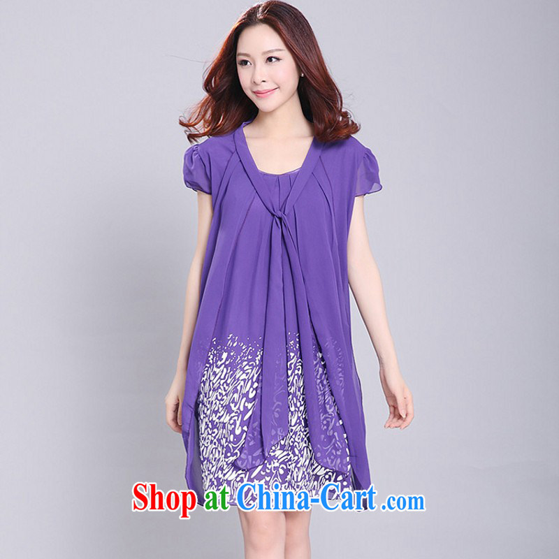The delivery package as soon as possible e-mail mm thick fresh and elegant snow-woven dresses 2015 new summer stamp spell-colored short-sleeved leave two OL the code purple 5 XL approximately 170 - 200 jack