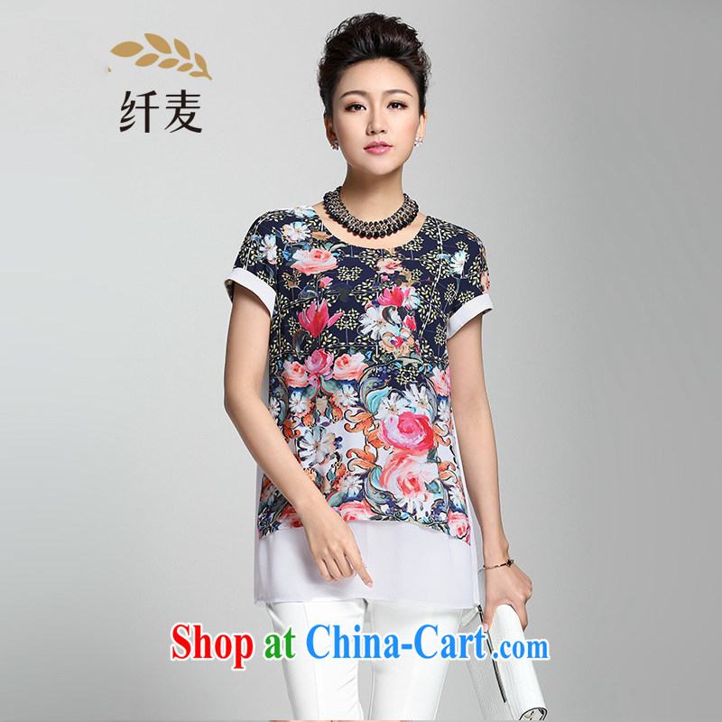 Former Yugoslavia, Mr Big, female 2015 summer new thick mm stylish flowers 100 snow ground woven shirts 952362330 floral 4 XL