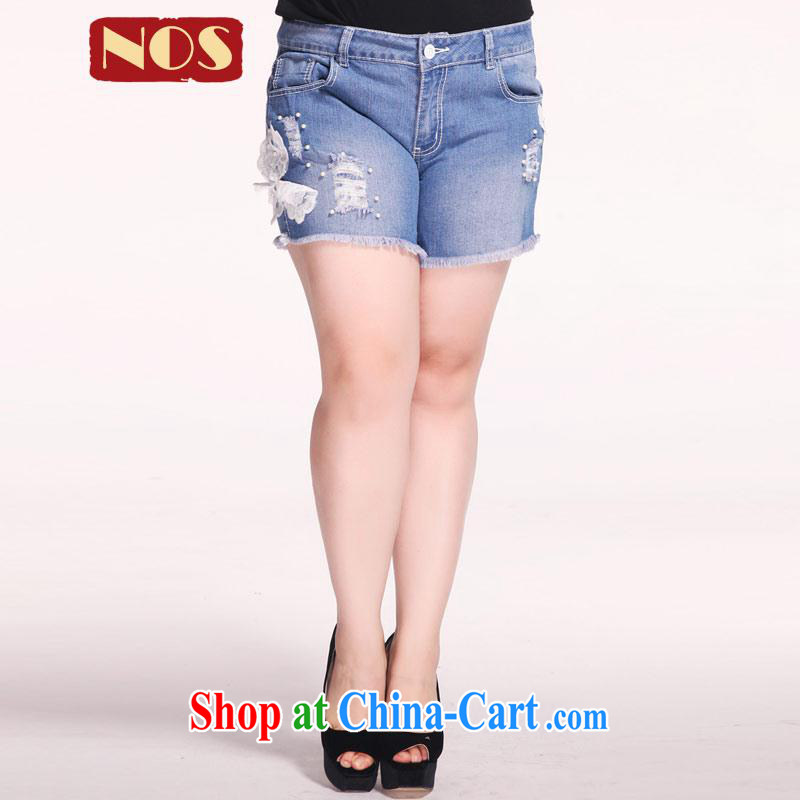 Thin _NOS_ King Size Code female new jeans and stylish embroidered pin Pearl graphics thin hot pants M 76,931 roses 42 code 220 Jack concept about