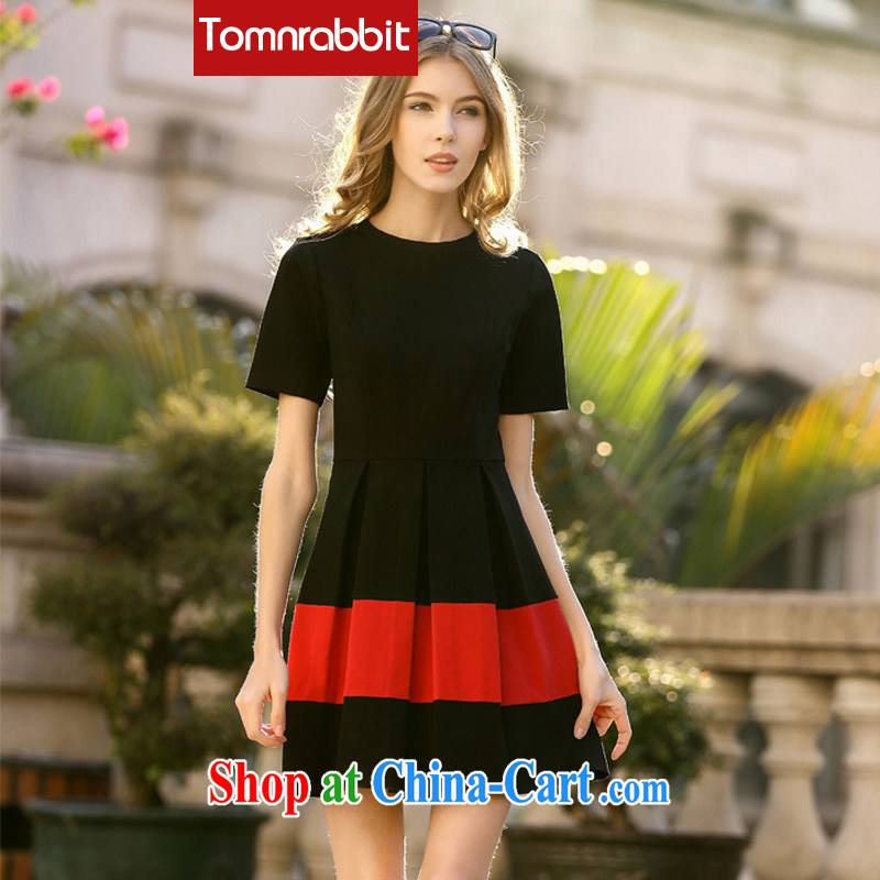 European high-end the larger female summer new dresses, Retro cuff solid thick sister graphics thin dresses black XXL
