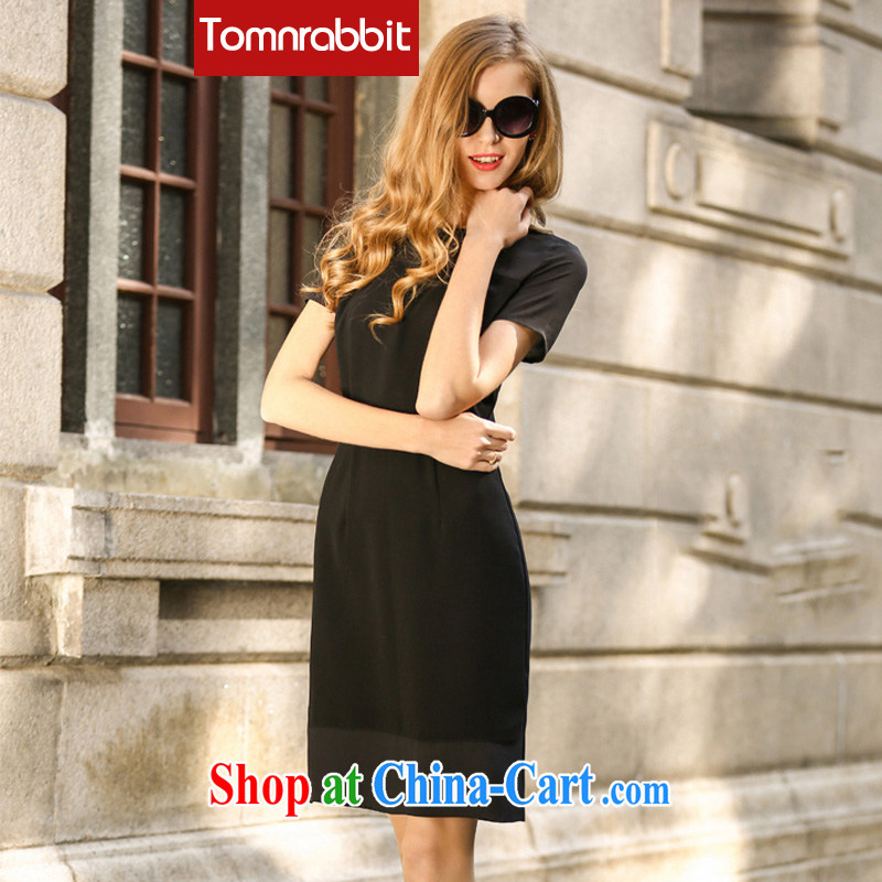 The European site 2015 spring new Snow-woven dresses spring in Europe and America, the female high-end big black XXXL