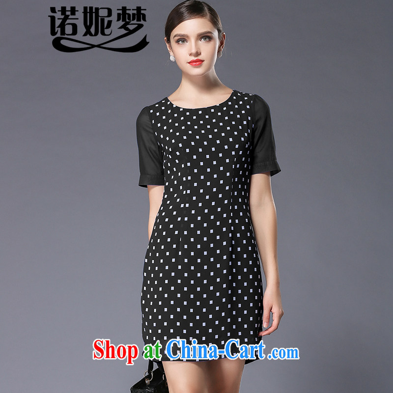 Connie's dream in Europe and high-end stylish wave point dresses 2015 new summer XL girls decorated in a video thin short-sleeved snow woven skirt Y 3357 black XXXL