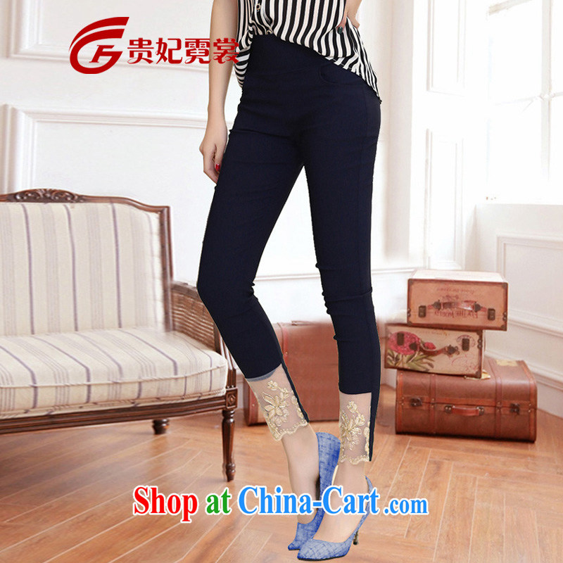 queen sleeper sofa Ngai Sang King, women 2015 summer new and indeed increase code castor pants thick mm high waist stretch lace embroidery 9 pants A 232 dark blue 3XL