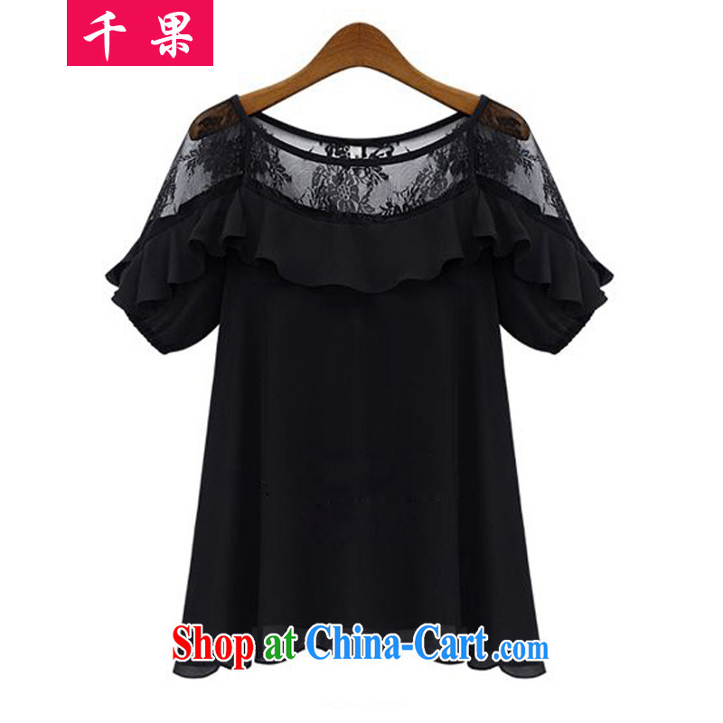 1000 fruit and indeed increase, female new summer lace stitching loose video thin T-shirt thick MM Openwork short-sleeved large code snow beauty woven shirts 0826 black XXXXXL