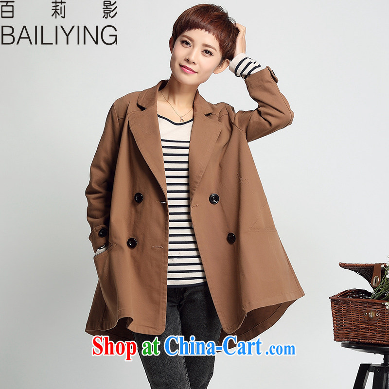 100 film and her new 2015 spring and autumn, Korean Air-yi, thick MM double-plus fat girl style Leisure jacket walnut XXL