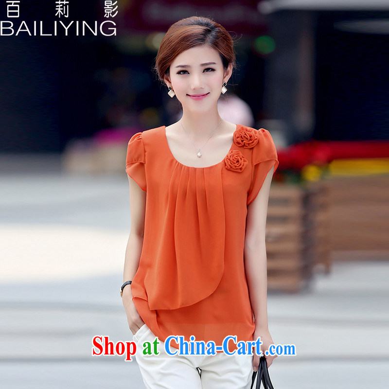 100 Li film summer 2015 the Code, older women with loose thick sister snow woven shirt short-sleeved T shirt New T-shirt orange 3 XL - recommendations 145 - 160 jack