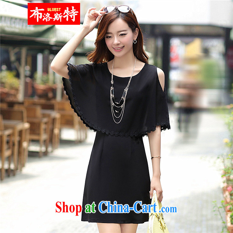 The Pueblo, The 2015 summer new dresses bat sleeves stitching sleeveless ice woven loose larger female black XXL