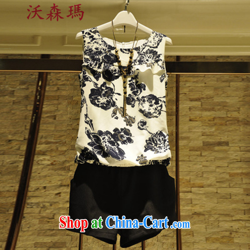 Korean female larger floral sleeveless ice woven shirts female video skinny T-shirt T-shirt + Black simplicity and solid color shorts package picture color XXXL