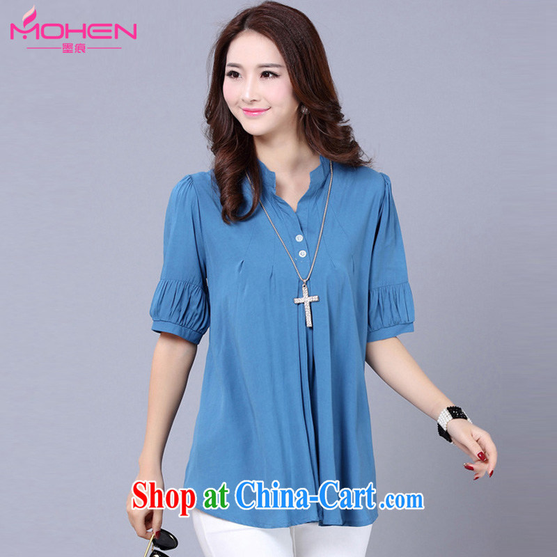 The ink marks 2015 spring and summer new XL ladies cuff in graphics thin solid shirt thick mm stylish and simple graphics thin, cotton T-shirt, shirt light blue 3 XL _recommendation 150 - 165 jack_