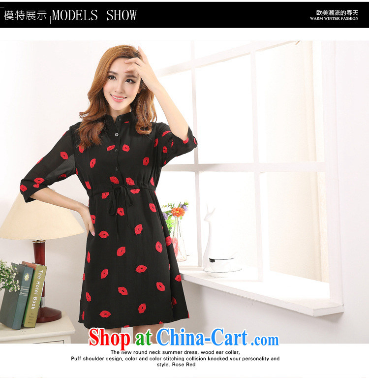 MissDonut the fat XL women 2015 spring and summer new expertise in Europe and mm red lips stamp thick sister snow woven dresses Black Large Number 3 XL pictures, price, brand platters! Elections are good character, the national distribution, so why buy now enjoy more preferential! Health
