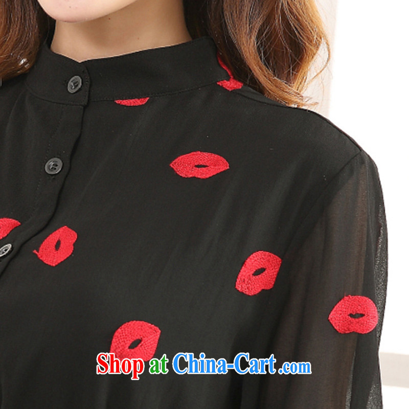 MissDonut the fat XL women 2015 spring and summer new expertise in Europe and mm red lips stamp thick sister snow woven dresses Black Large Number 3 XL, MissDonut, shopping on the Internet
