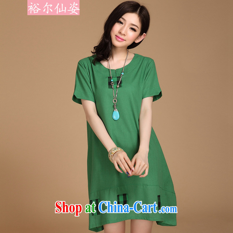 Yu-sin, colorful spring and summer new thick MM and indeed XL grid overlay and cotton the dresses girls green L