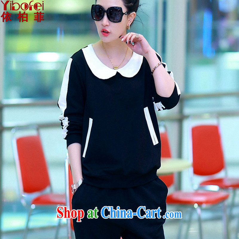 According to perfect 2015 spring new thick MM and indeed increase, long-sleeved shirt T two-piece cotton Sport Kit female Y 2102 black 4XL