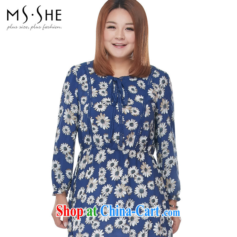 The MSSHE Code women 2015 spring mm thick sister sweet leisure with stamp duty long skirt shirt 2920 blue stamp 6XL