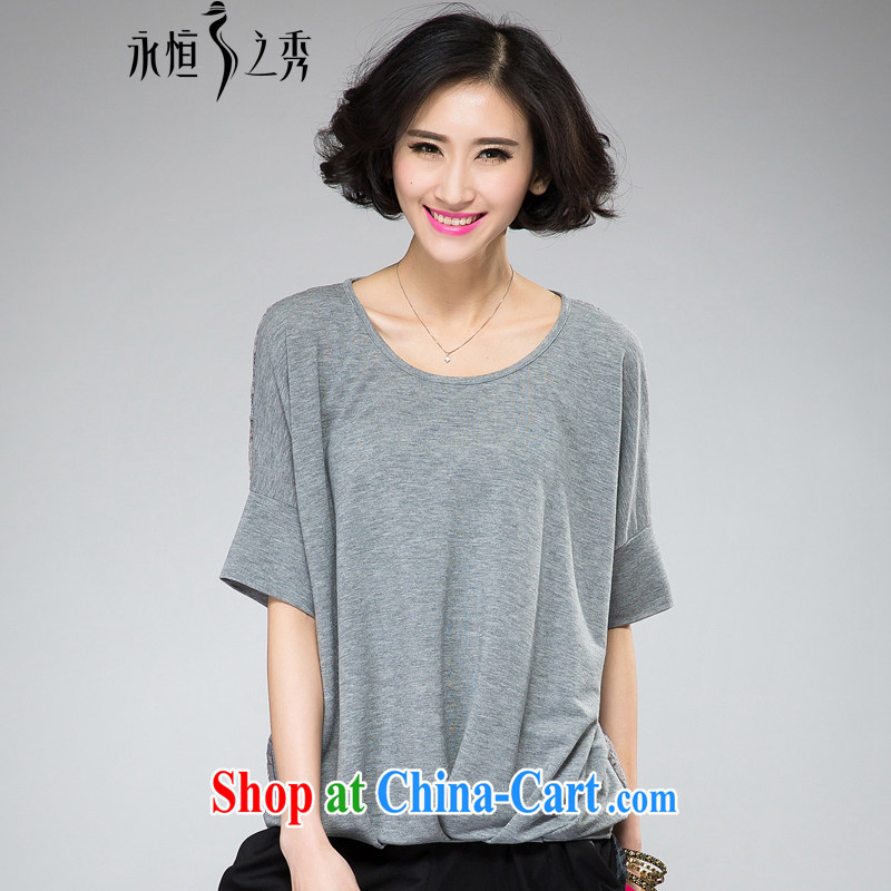 Eternal show larger female T-shirts thick sister 2015 spring and summer fat people graphics thin new Korean stylish and simple round-collar short-sleeve loose the fat XL T-shirt light gray 3 XL