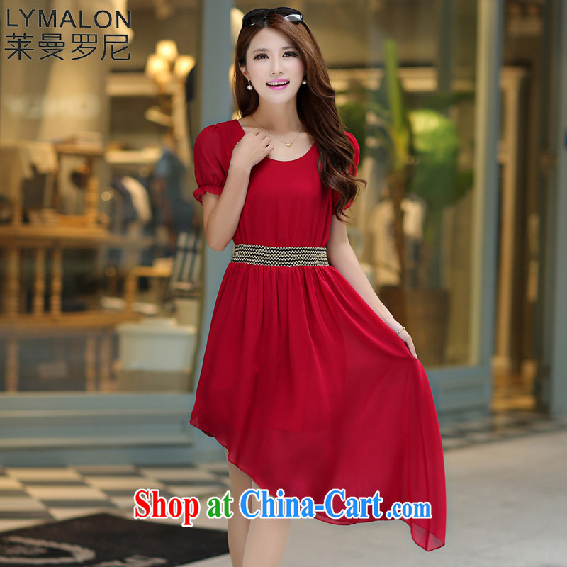 Lehman Ronnie lymalon fat people graphics thin summer 2015 mm thick new, large, female and indeed increase as the snow woven dresses 7017 red XXXXL